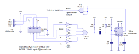 GameBoy Style Reset for NES Schematic